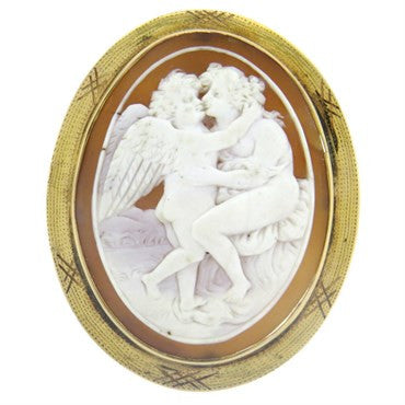 image of Antique Gold Shell Cameo Brooch Pin Pendant