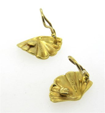 thumbnail image of 1980s Tiffany & Co 18k Gold Fan Earrings