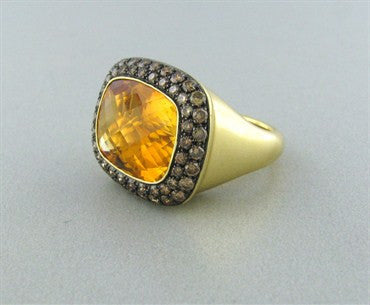 image of Modern 18K Yellow Gold 11.98ct Citrine Fancy Diamond Cocktail Ring