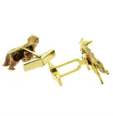 image of Bull and Bear Stockbroker 14k Gold Cufflinks