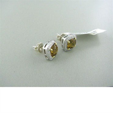 thumbnail image of Krypell Sterling 14k Gold Brown Quartz Diamond Earrings