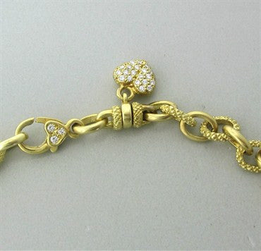 thumbnail image of Judith Ripka 18K Gold Diamond Heart Charm Signature Clasp Necklace