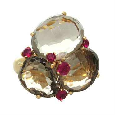 image of Pomellato Bahia Gold Smokey Quartz Ruby Ring