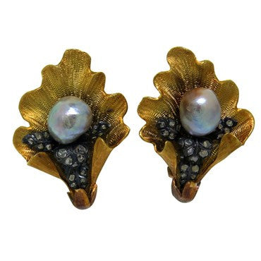 thumbnail image of Mario Buccellati Pearl Diamond Gold Earrings
