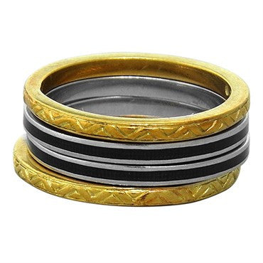 image of Hidalgo 18k Gold Enamel Stackable Band Ring Lot of 4