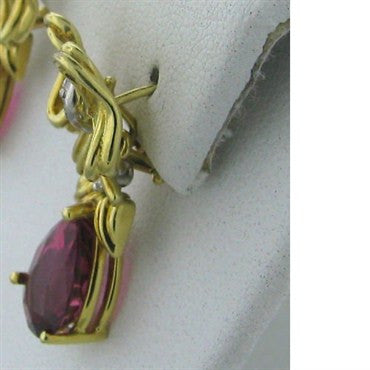 thumbnail image of Tiffany & Co 18k Gold Diamond Tourmaline Drop Earrings