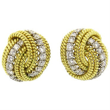 image of Impressive 1980s 3.20ctw Diamond 18k Gold Wire Earrings