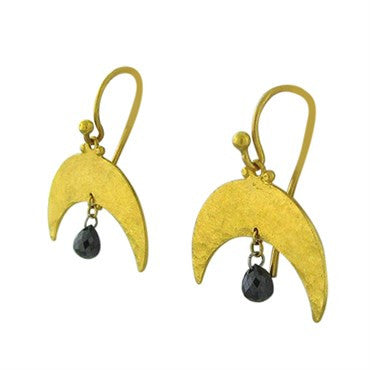 image of New Gurhan 24K Gold Crescent Black Diamond Briolette Earrings
