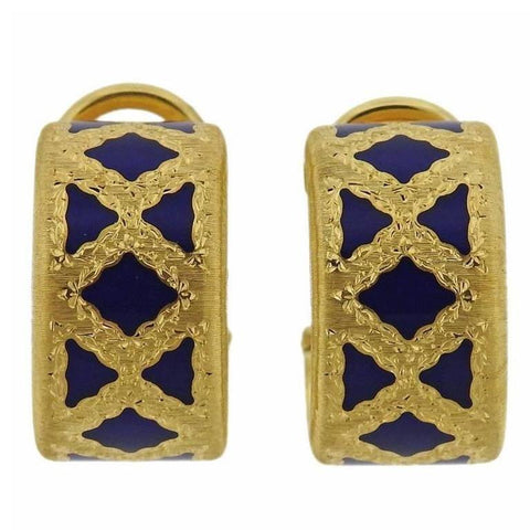 Buccellati Enamel 18k Gold Hoop Earrings
