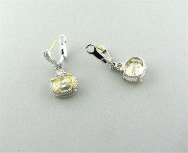 image of Judith Ripka Sterling 18K Gold Canary Crystal Diamond Drop Earrings