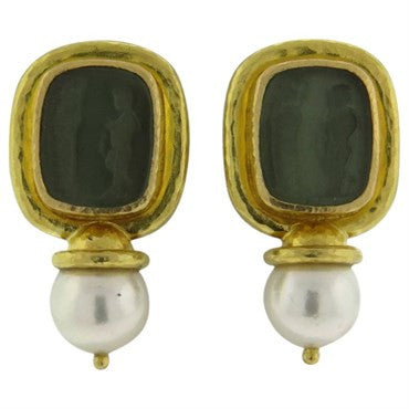 image of Elizabeth Locke Venetian Glass Intaglio Pearl 19k Gold Drop Earrings