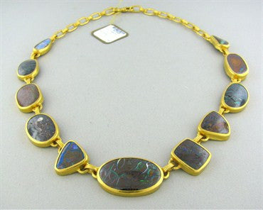 image of New Gurhan Quilpie 24K Gold Boulder Opal Necklace