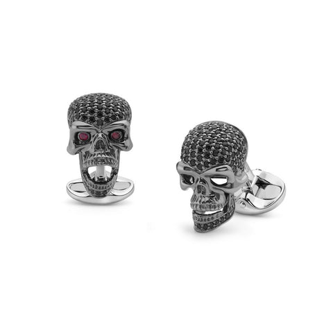 image of Deakin & Francis Black Spinel Skull Cufflinks