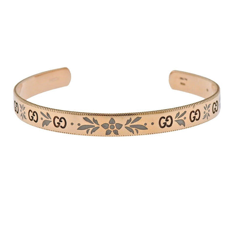 image of Gucci Icon Blossom Rose Gold Enamel Cuff Bracelet Sz 16