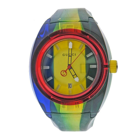 image of Gucci Swiss Sync Green Yellow Red Rubber Watch YA137114