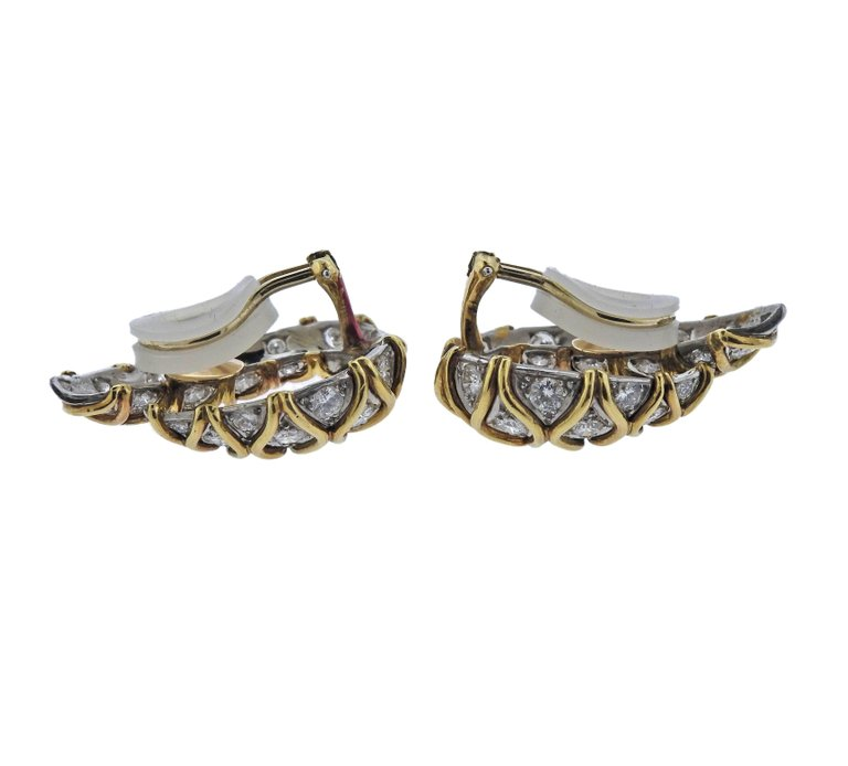 thumbnail image of Fine Diamond Platinum Gold Earrings