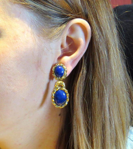 image of Wander France Lapis Gold Drop Earrings