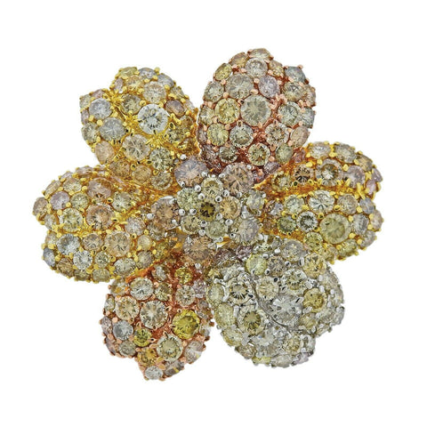 image of 27.90 Carat Fancy Diamond Tri Color Gold Flower Brooch