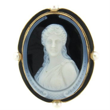 image of Antique Hardstone Cameo Pearl 14k Gold Enamel Brooch Pendant
