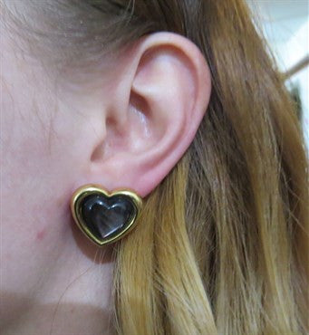 thumbnail image of Mauboussin Black Mother of Pearl 18k Gold Heart Earrings