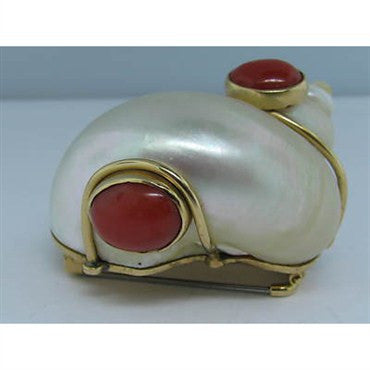 image of Vintage Seaman Schepps 14K Gold Shell Coral Pin Brooch