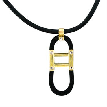 image of New Roberto Coin 18k Gold Black Rubber Necklace
