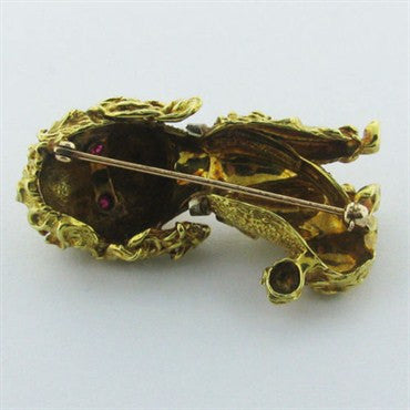 thumbnail image of Estate Tiffany & Co 18k Gold Diamond Ruby Brooch Pin