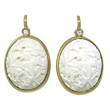 thumbnail image of Pomellato Victoria 18k Gold Carved White Coral Diamond Earrings