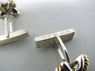 image of Tiffany & Co Sterling Silver 18K Gold Cufflinks