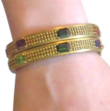 thumbnail image of Kieselstein Cord Set of Two Multicolor Gemstone Bangle Bracelets