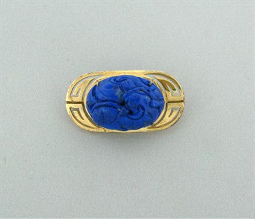 image of Estate Gumps 14K Yellow Gold Carved Lapis Brooch Pin