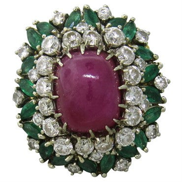 image of Ruby Cabochon Emerald Diamond Gold Cocktail Ring 1960s