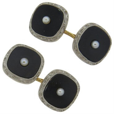image of Larter & Sons Classic Art Deco Onyx Pearl Gold Cufflinks