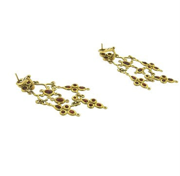 image of H. Stern Garnet Diamond 18K Gold Dangle Earrings