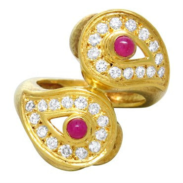 image of Zolotas Ruby Diamond 22k Gold Ring