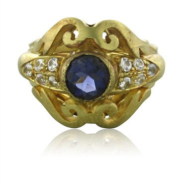image of Robin Rotenier 18K Yellow Gold Diamond Iolite Ring