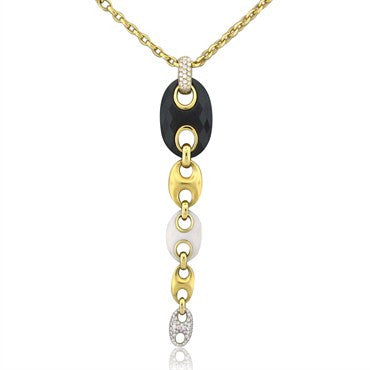 image of New Valente Marina Collection 18K Gold Black Onyx Diamond Necklace