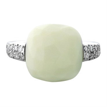 image of New Pomellato Capri 18k Gold Diamond White Onyx Ring