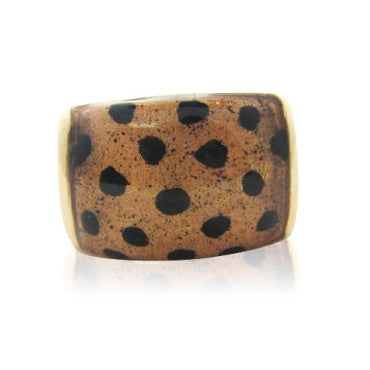 thumbnail image of Soho Jaguar 18k Gold Enamel Ring