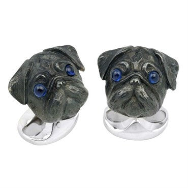 image of Deakin & Francis Sterling Silver Pug Head Dog Cufflinks
