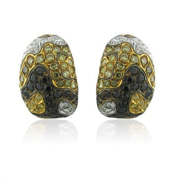thumbnail image of Roberto Coin 18K Gold Multi Color Diamond Camouflage Earrings
