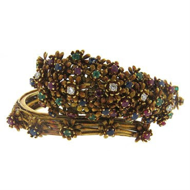 thumbnail image of Zolotas Gold Diamond Emerald Sapphire Ruby Flower Bangle Bracelet