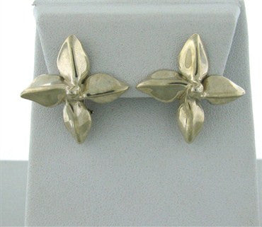 image of Estate Tiffany & Co Flower Motif Sterling Silver Earrings
