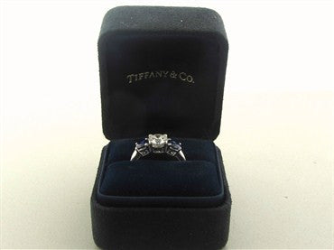 thumbnail image of Tiffany & Co Platinum Diamond Sapphire Three Stone Engagement Ring