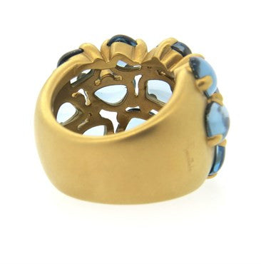 image of Pomellato Nausica 18k Gold Blue Topaz Ring