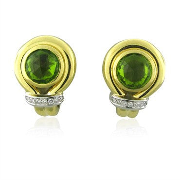 image of Faraone Menella 18K Yellow Gold Peridot Diamond Earrings