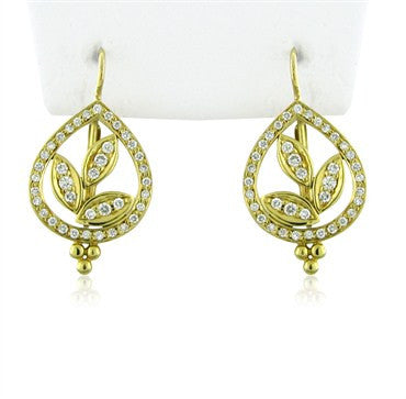 image of New Temple St. Clair Pear Vine 18K Gold Diamond Earrings