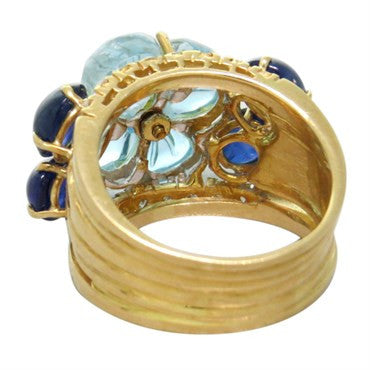 thumbnail image of Carved Blue Topaz Sapphire Diamond Gold Ring