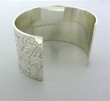 image of Tiffany & Co Notes Sterling Silver Large Cuff Bracelet