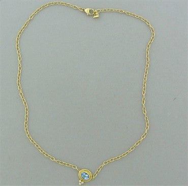 thumbnail image of New Temple St. Clair 18K Gold Aquamarine Diamond Pendant Necklace